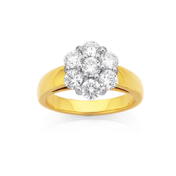 18ct, Diamond Cluster Ring Total Diamond Weight=1.50ct