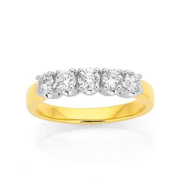 18ct Five Stone Diamond Ring Total Diamond Weight=.75ct