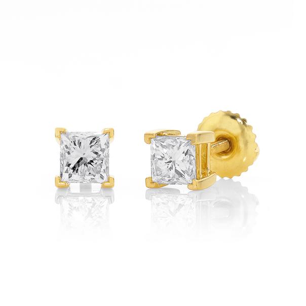 18ct Princess Cut Diamond Studs Total Diamond Weight=1.00ct