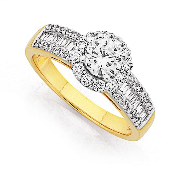 18ct Two Tone Diamond Ring Total Diamond Weight=1.25ct