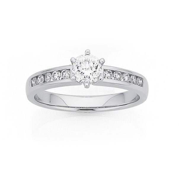 18ct White Gold .55ct Diamond Solitaire with Channel Set Shoulders Ring Total Diamond Weight =.75ct