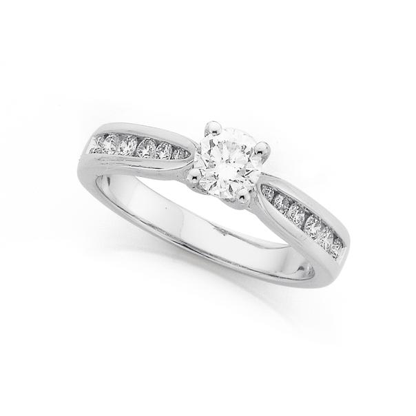 18ct White Gold, Diamond Ring Total Diamond Weight=.50ct