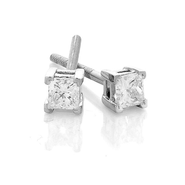 18ct White Gold Princess Cut Diamond Studs