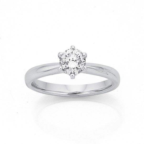 18ct, White Gold Round Cut Solitaire .70ct