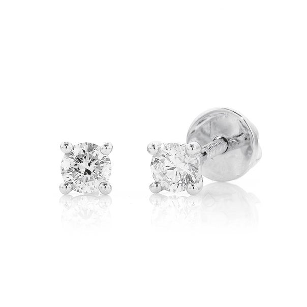 18ct White Gold Studs Total Diamond Weight=.25ct