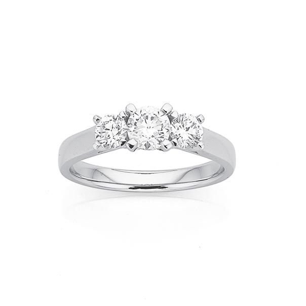 18ct White Gold Three Stone Diamond Ring Total Diamond Weight=1ct