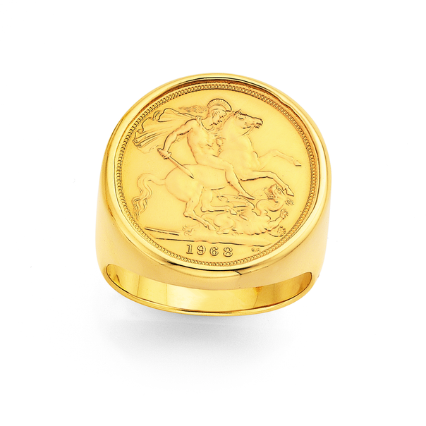 22ct Full Sovereign in 9ct Ring