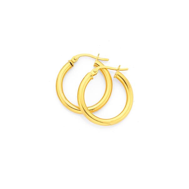 9ct 15mm Polished Hoop Earrings