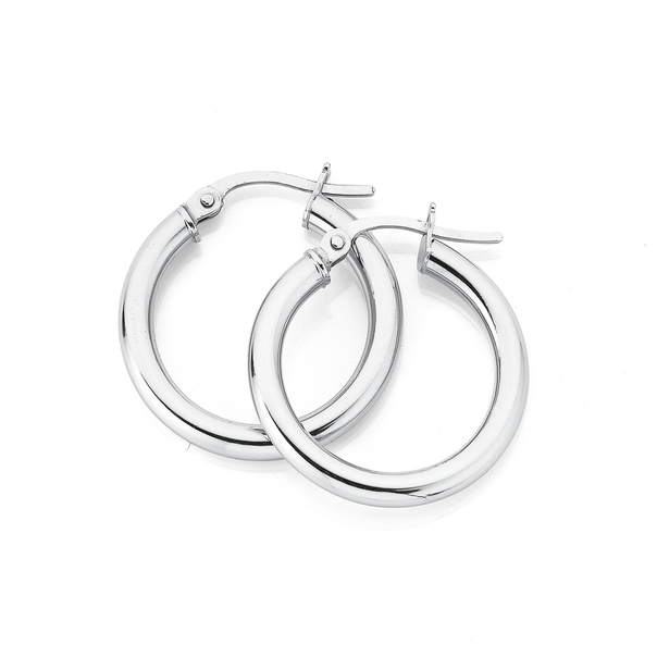 9ct 20mm White Gold Hoops