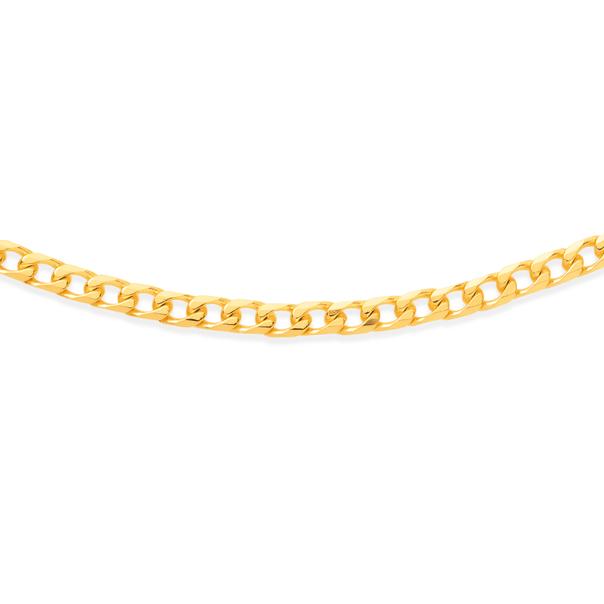 9ct 45cm Diamond Cut Bevelled Curb Chain