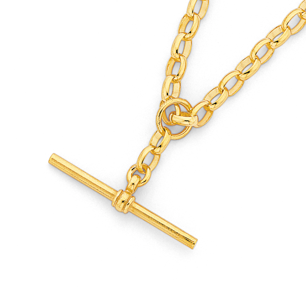 9ct 45cm Oval Belcher Chain with T-Bar Fob