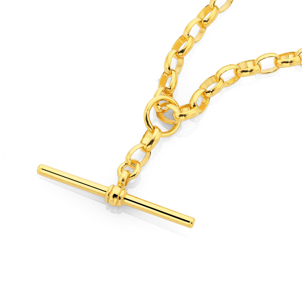 9ct 50cm Oval Belcher Chain with T-Bar Fob