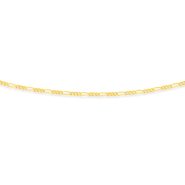 9ct 50cm Solid Figaro 3+1 Chain