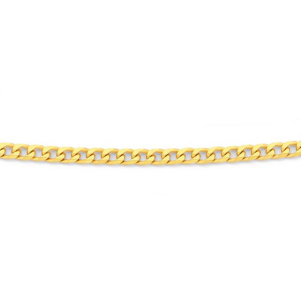 9ct 55cm Diamond Cut Bevelled Curb Chain