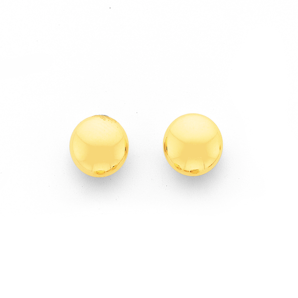 9ct 6mm Flat Ball Stud Earrings