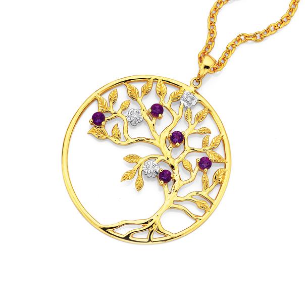 9ct Amethyst & Diamond Tree Of Life Pendant