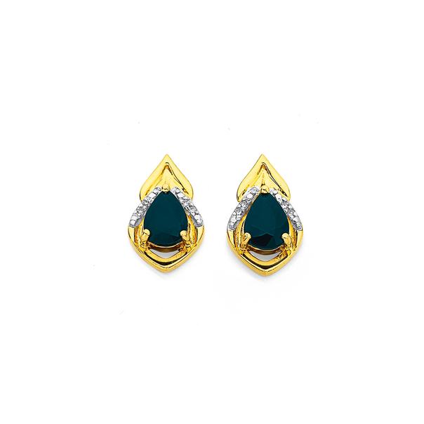 9ct, Blue Sapphire and Diamond Studs
