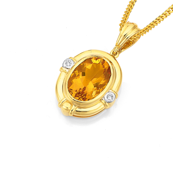 9ct, Citrine & Diamond Enhancer Pendant