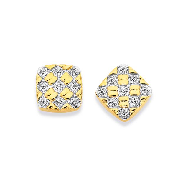 9ct Cushion Shaped Ribbed Diamond Earrings