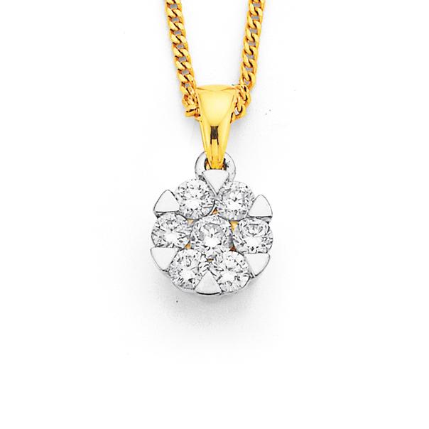 9ct  Diamond Cluster Pendant Weight=.33ct
