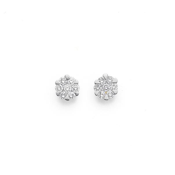9ct Diamond Cluster Studs TDW=.35ct