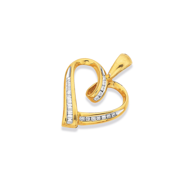 9ct, Diamond Heart Pendant