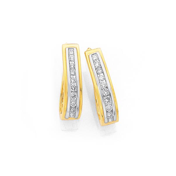 9ct Diamond Huggie Earrings TDW=.50ct