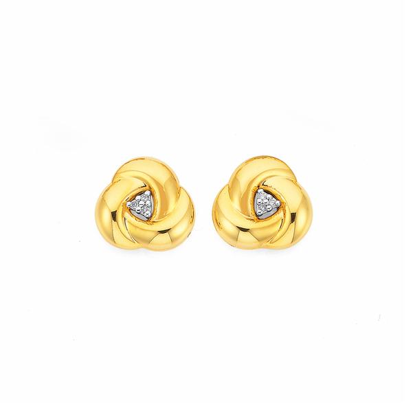 9ct, Diamond Knot Studs