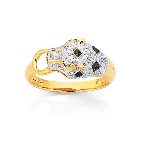 9ct Diamond Leopard Head Ring