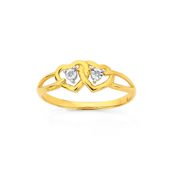 9ct, Diamond Miracle Plate Heart Ring