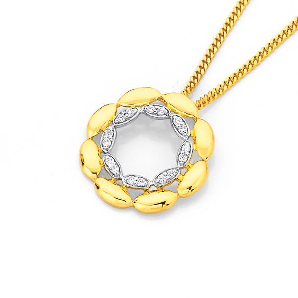 9ct, Diamond Set Multi Link Circle Pendant