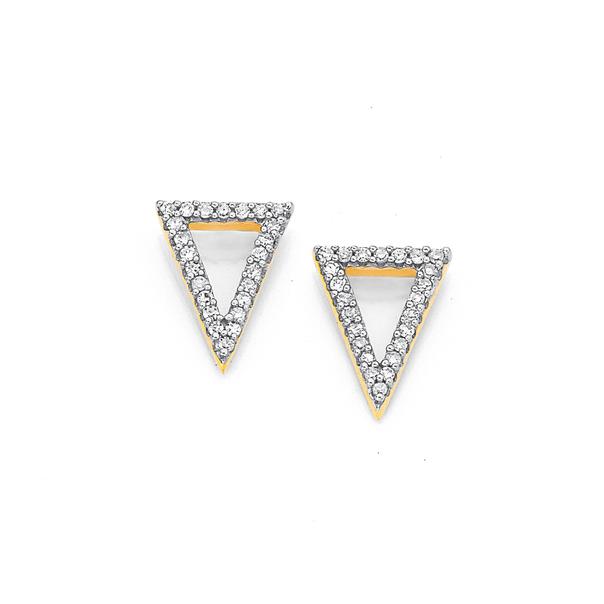 9ct, Diamond Set Triangle Earrings
