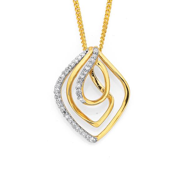 9ct, Diamond Swirl Pendant TDW=.10