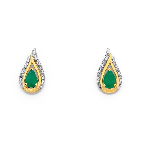 9ct Emerald & Diamond Earrings