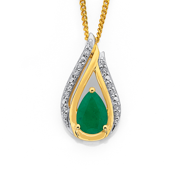 9ct Emerald & Diamond Pendant