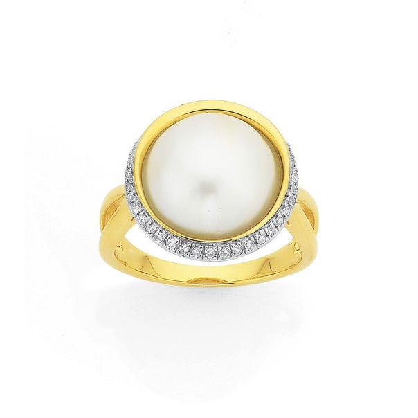 9ct 12mm Mabe Pearl with Diamond Halo Ring