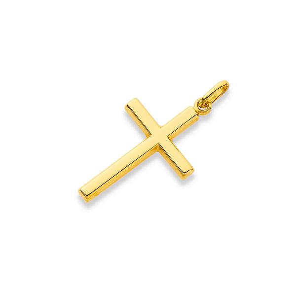 9ct Gold 22mm Plain Cross Pendant