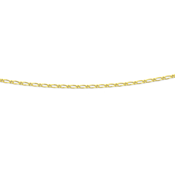 9ct Gold 45cm Solid Figaro 1+1 Chain