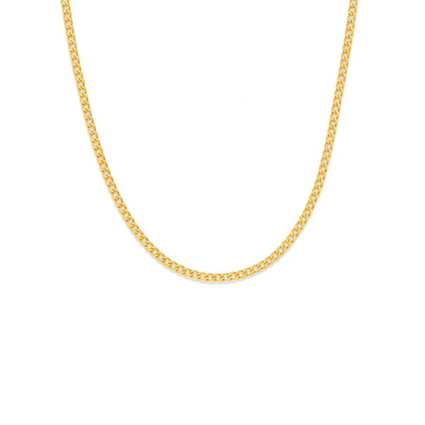 9ct Gold 45cm Solid Flat Curb Chain