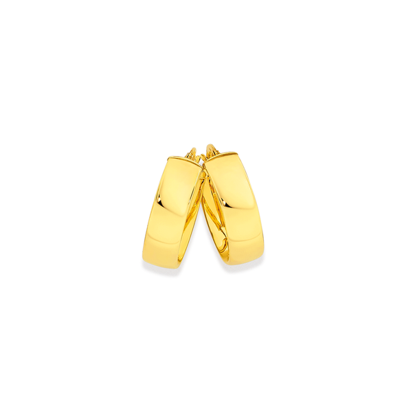 9ct Gold 6x18mm Half Round Hoop Earrings