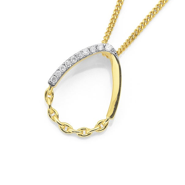 9ct Open Teardrop With Diamond and Chain Texture Pendant