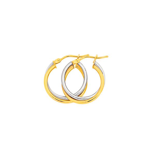 9ct Gold Two Tone 15mm Double Hoop Earrings