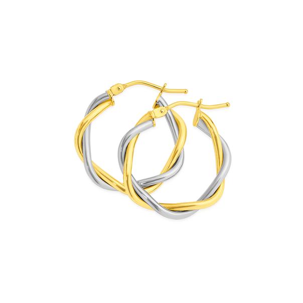 9ct Gold Two Tone 15mm Entwined Twist Hoop Earrings