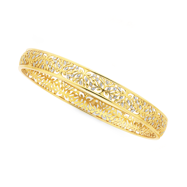9ct Gold Two Tone 8x65mm Solid Bangle