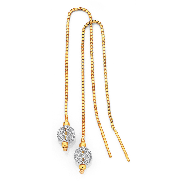 9ct Gold Two Tone Filigree Ball Thread Drop Earrings