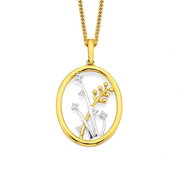 9ct Two Tone Flower Pendant