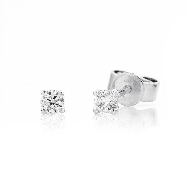 9ct White Gold Studs Total Diamond Weight=.15ct