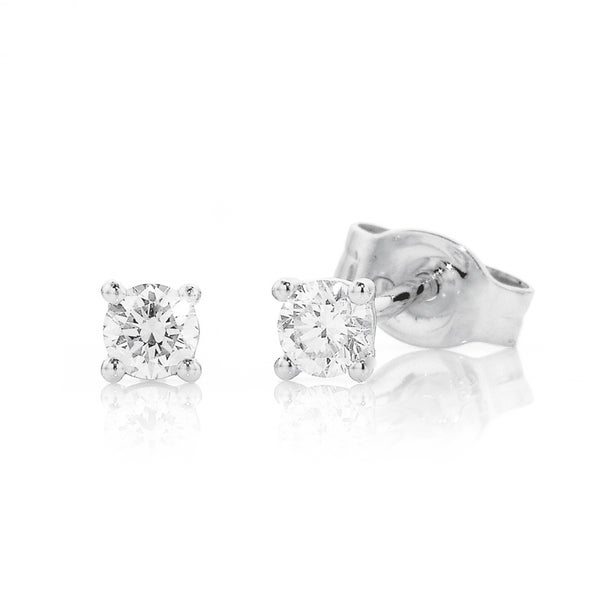 9ct White Gold Studs Total Diamond Weight=.20ct