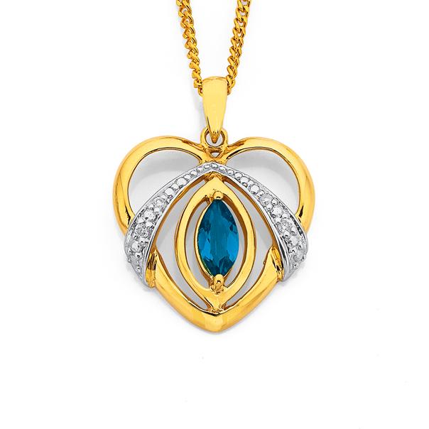 9ct London Blue Topaz and Diamond Heart Pendant