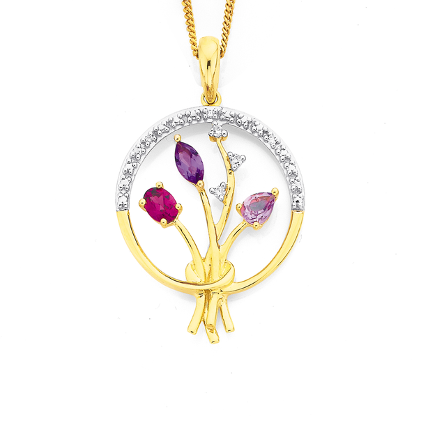 9ct Multi Gemstone Gift Of Flowers Pendant
